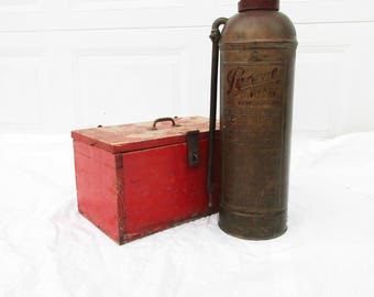 A Vintage 'Pyrene' Fire Extinguisher - Serial No. - Brass With Incised and Embossed Graphics - Vintage Firefighting - History - Brass