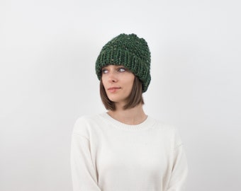 Chunky Knit Hat, Fold-Over Brim Beanie, Wool Blend | THE EDINBURGH in Pine