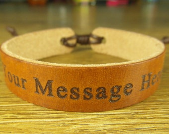 personalized leather bracelet, engraved cuff bracelet, custom leather wrap