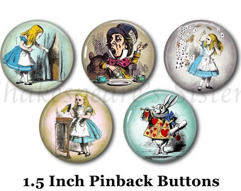 "Alice in Wonderland - 5 Pinback Buttons - 1.5"" Pinback - Alice Pins - Literary Pinback Buttons - Steampunk Pins"