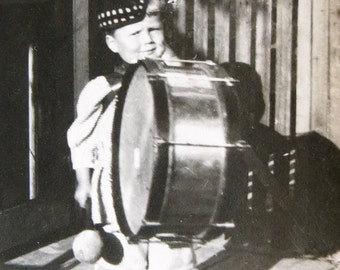 Original 1920's Momma's Little Drummer Boy Snapshot Photograph - Free Shipping