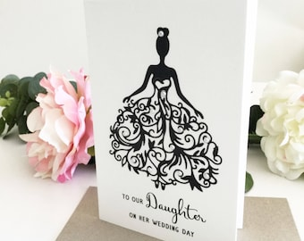 Daughter Wedding Card, To Our Daughter On Her Wedding Day Card, Greeting Card Bride, Wedding Gift Daughter, Wedding Day Card For Daughter