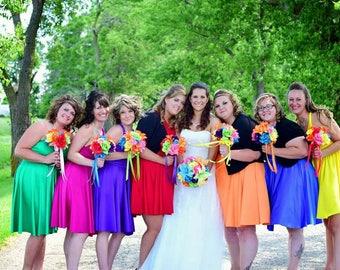 Rainbow Bridesmaids Dresses - Short Wedding Dress  ... 37 Colors... Elopement, Cocktail Party, Maternity Dress, Beach Wedding Dress