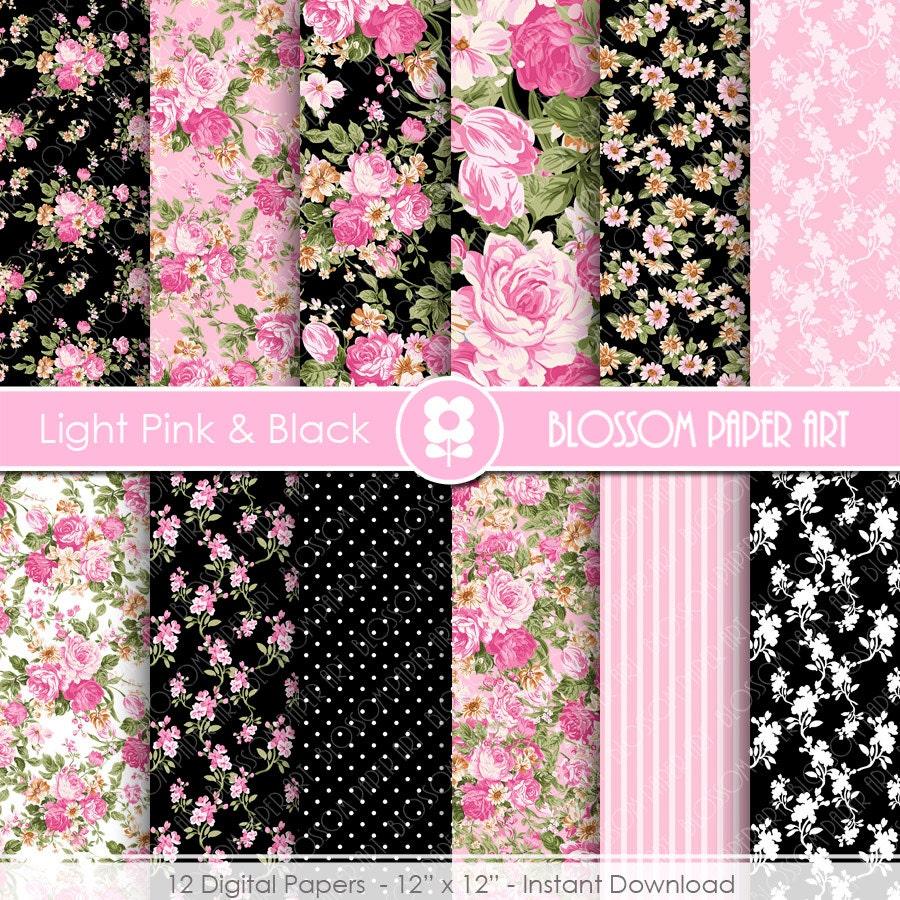 Light Pink Floral Digital Paper Pink And Black Digital Paper