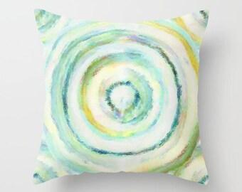 Outdoor Pillow, Patio Throw Pillows, Teal Aqua Yellow Green ,Abstract Art, Home Decor, Outdoor Decor