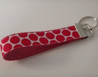 Key Chain - Key Fob - Pink Polka Dot Keychain - Matches the Pink Polka Dot Dog Collar