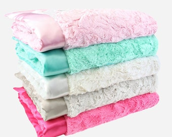 Luxe Bella Baby Blankets with Satin Trim - Pink