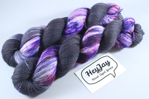 Hand Dyed Ultimate Sock Yarn, BFL High Twist - Galaxy Stripe