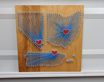 Multiple Location String Art...Choose your states