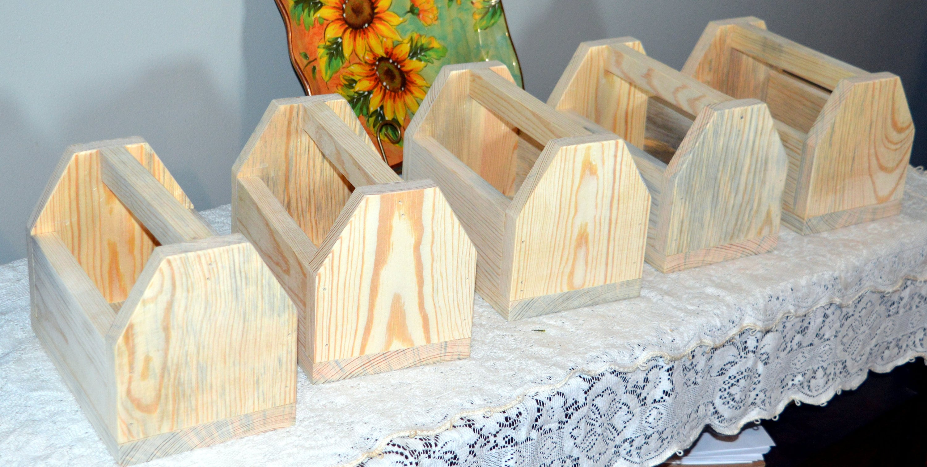 Set of 5 Centerpieces Unfinished wood centerpieces Wedding