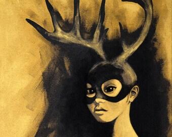 Sans titre doré#1 (le cerf) (Untitled gilt 1 (the deer)) - painting 38x46cm acrylic and ink portrait female black and gold