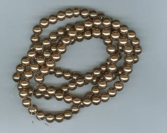 Brown Spacer Bead, 8mm Brown Glass Pearl Round Spacer Beads, 100 Bead Spacers