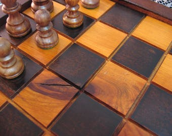 Handmade Cherry Wood Chess Board Salvaged Cherry wood from 1830's Barn Beams, carved chess pieces, Heirloom Chess Set