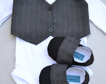 Dark Grey Vest Bow tie Baby Boy Outfit Photo Prop Matching Shoes