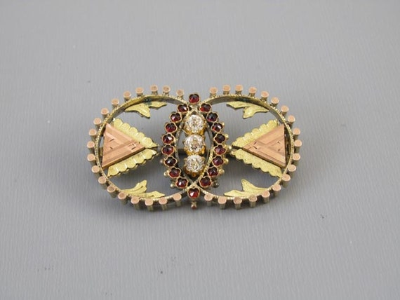 Antique mid Victorian Bohemian rose cut garnet and paste multi color gold filled circle brooch pin