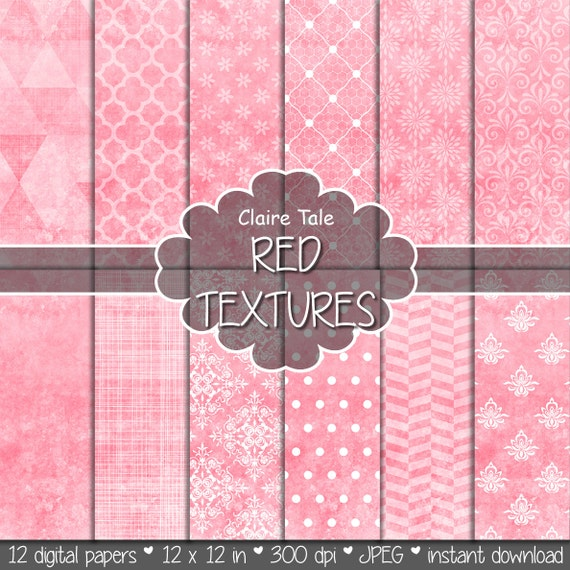 Red digital paper, Red printable paper, Red digital textures, Red scrapbooking paper, Red digital invitation paper, Red wedding backgrounds