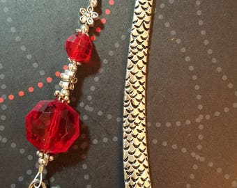 Silver Tone Dragon Scale Metal Bookmark with Red & Silver Tone Beads and Silver Tone Metal Dragon Charm