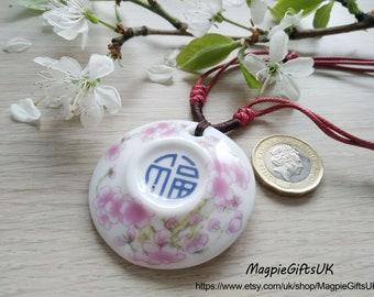 Porcelain necklace, Cherry flower pattern ceramic necklace, Porcelain pendant, Clay Necklace, Gift for Women, Ceramic Jewelry, Clay Pendant