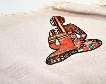 Turkish Peshtemal with Buddha Symbol, Turkish Towel Peshtemal, Bath Towel, Yoga Towel, Hamam Towel, Spiritual Gifts
