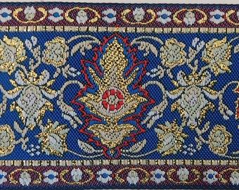 "Metallic Jacquard Ribbon Trim | 2"" Inch Woven Jacquard Ribbon | Renaissance Fair Costume Trim~Gold~Red-Blue-White-Green"