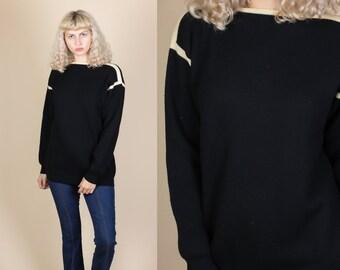 80s Black Knit Sweater - Large // Vintage White Trim Pullover Jumper