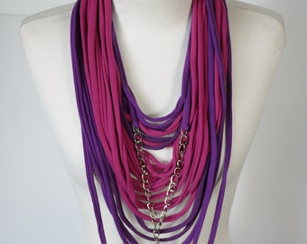 Upcycled t-shirt scarf: Pink and purple with interesting pendant [408]