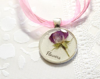 Rose Flower Necklace, Flowers Necklace, Pink Flower Necklace, Pink Rose Necklace, Real Flower Necklace, Dried Flower Necklace