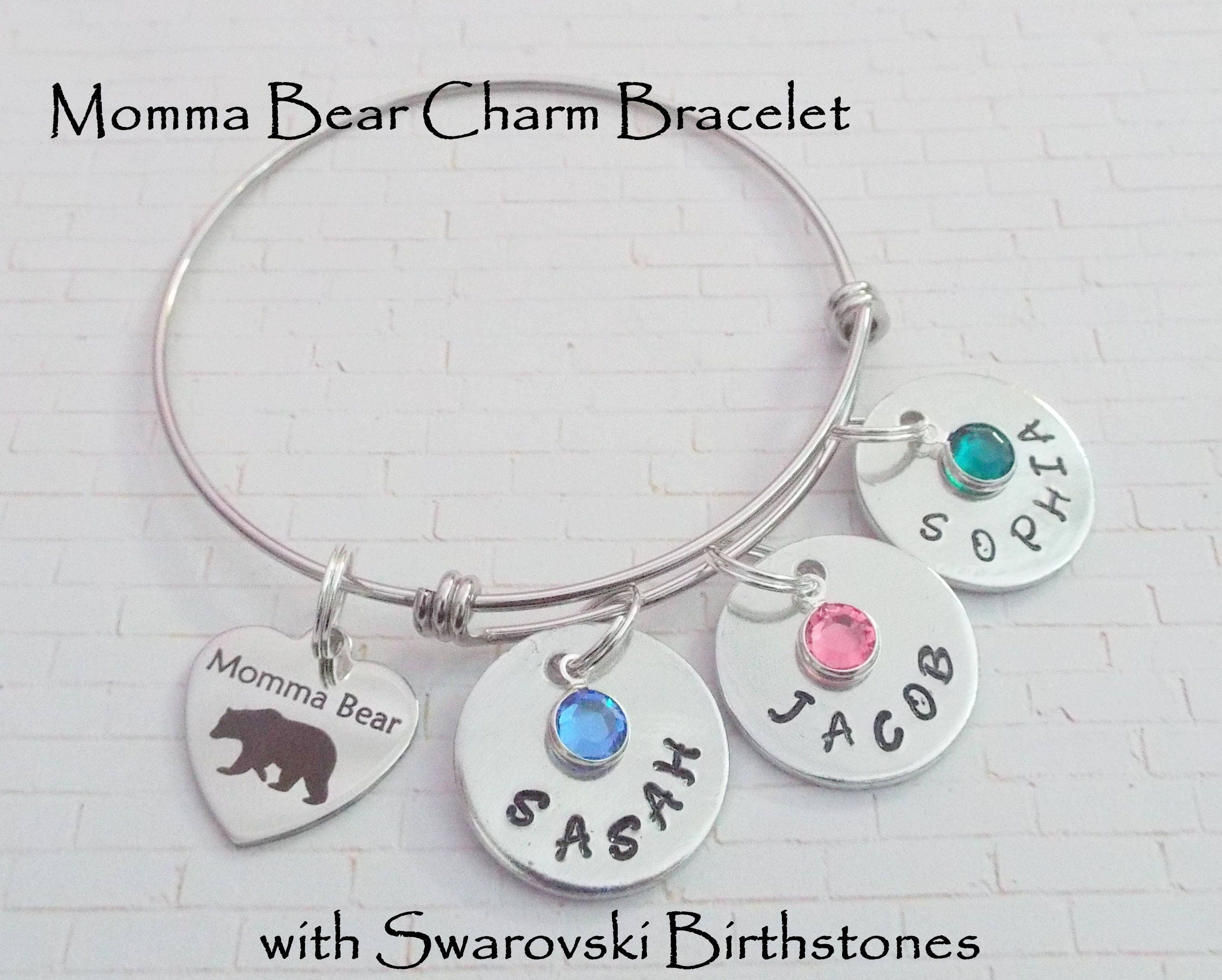 charm and bead bracelet jewelry sterling mothers heart pin silver mother daughter adjustable