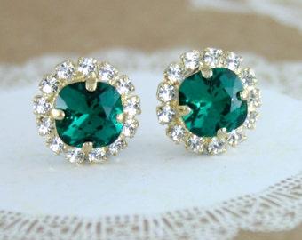 Emerald green earrings,bridal earrings,bridesmaid earrings,emerald green wedding,green crystal earrings,green wedding,rose gold earrings