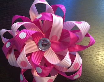 Pink Loop Bow, Childs Hair Clip, Toddler Hair Clip, Baby Hair Clip