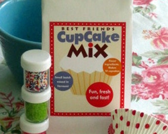 Cupcake baking mix gift pack chocolate cupcake mix kit plus sprinkles and sanding sugar sweet Spring hostess gift