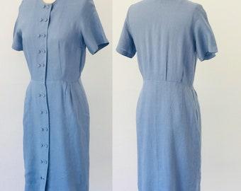 Vintage 1960's Pure Irish Linen TailorTown Shirtdress l M