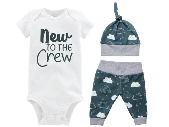 New to the Crew Boy Going Home Set Onesie Bodysuit Infant Gift Set Clouds Boy Coming Home Outfit New Baby Shower Gift Newborn Clouds Rain