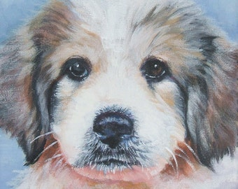 "Great Pyrenees dog art CANVAS giclee print of LA Shepard painting 8x8"" portrait"