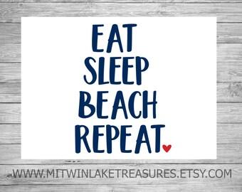 Eat Sleep Beach Repeat Decal / Custom Color, Size / Car, Yeti, Tumbler, Wall Sticker / Heart, Beach, Summer, Nautical Accessories