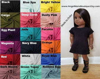 Dress for 18 inch dolls. Made to Order. Choose Color