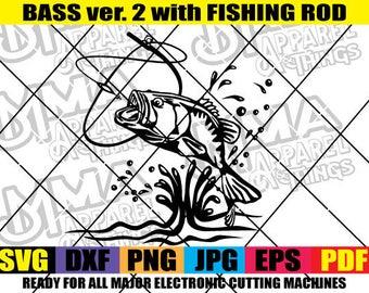 Bass Fishing Angling Fish Hook Fresh Water Hunting Largemouth Smallmouth Striped Clipart Vector Cricut Cut Cutting svg  dxg png eps jpg pdf