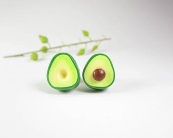 Avocado Earrings, Avocado jewelry, food earrings, food jewelry, womens gift, polymer clay, fruit earrings, vegan gift, cute earrings green
