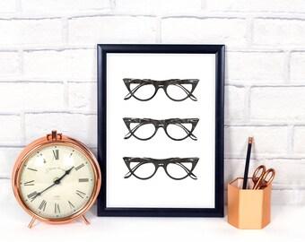 Office print,Eyeglass Printable,minimalist print,Black and white,geek gift,geek print,nerd gift,nerd print,desk decor ideas,cubicle decor