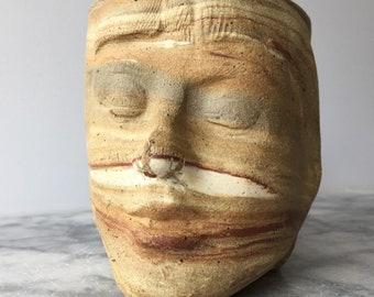 Visage marbré coupe Vase navire tête Sculpture Ikebana Pot en céramique Art Mug Yunomi