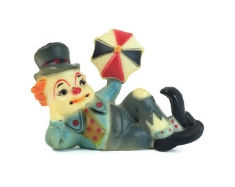 Vintage Hobo Clown Figurine Collectible Clown Cake Topper Plastic Clown Small Clown with Top Hat