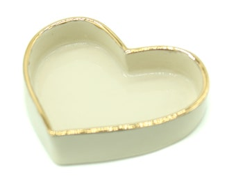 Small Ceramic Stoneware Heart Shaped Jewelry Dish with 22 Karat Gold