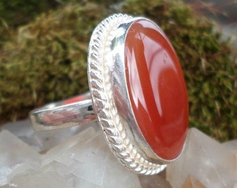 SILVER plated ring and carnelian (BA264)