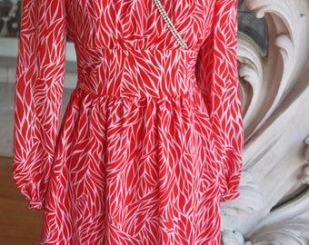 Vintage 1970s Red Print Empire Waist Cross Bodice Dress with Rhinestones