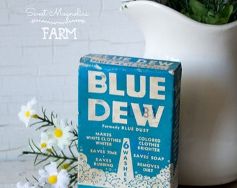 Vintage Blue Dew Bluing Soap Box - Samplie Size Vintage Advertising - Laundry Bath Room Country Farmhouse Retro Chic Decor - 1960s Drugstore