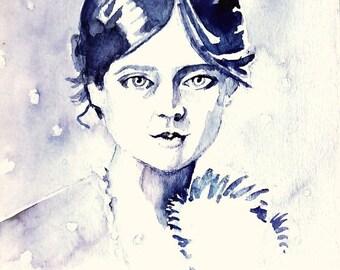 Handgeschilderde aquarel van een jonge vrouw.