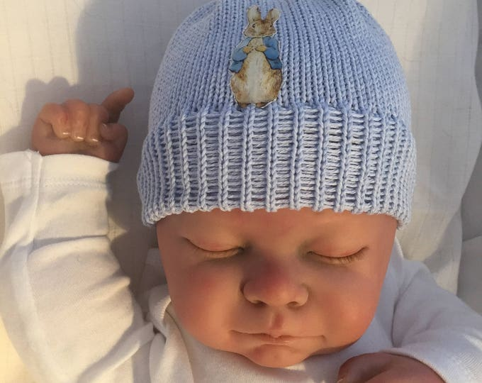 knitted hand made baby /child beanie hat blue knit peter rabbit inspired beanie hat cotton girl/boy sizes from newborn  gift photo prop