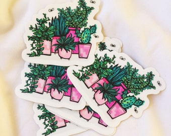 Pink Potted Plants & Succulents Illustrated Die Cut Matte Stickers | Sticker Love | Plant Lover Present | Sticker Gift