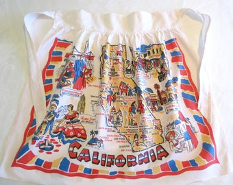 1950's California Souvenir Apron, Women's Campy Half or Waist Apron, Scenic Hot Spots in Mid Century California, Wonderful Vintage Graphics
