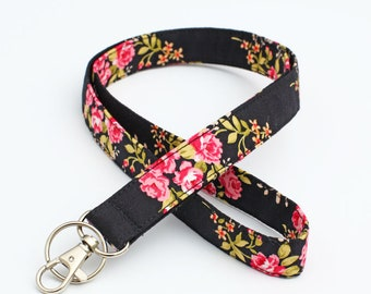 Women's ID Holder, Floral Fabric Lanyard, Roses Keychain, Fabric Neck Strap, Pink Flowers Lanyard - tiny pink roses in black